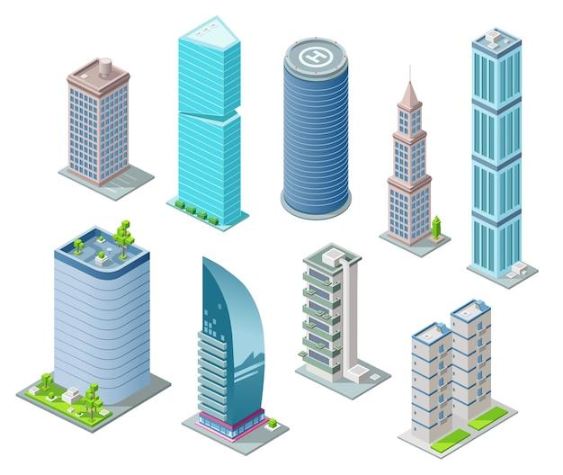 Izometryczne budynki 3d
