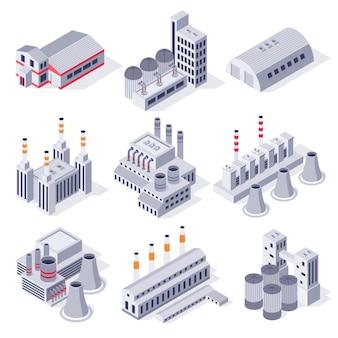 Izometryczne budynki fabryczne. budynek elektrowni przemysłowej, magazyn magazynowy fabryk i zestaw nieruchomości 3d