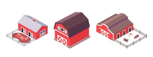 Izometryczne budynki gospodarcze ustawione na białym tle. wiejska stodoła, obora i farma świń ze zwierzętami.