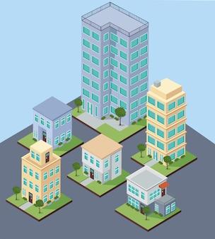 Izometryczne budynki miejskie