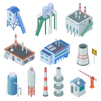 Izometryczne budynki przemysłowe. fabryczny budynek elektrowni strefy przemysłowej wyposażenie 3d odizolowywał ikona wektoru set