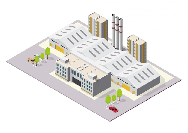 Izometryczne budynki przemysłowe lub fabryczne