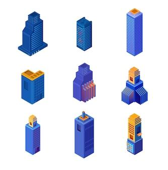 Izometryczne budynki wieżowców miejskich