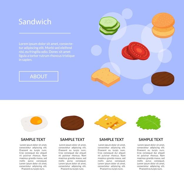 Izometryczne burger składniki zestawu na białym tle