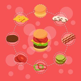 Izometryczne burger składników infografika śniadanie bułka