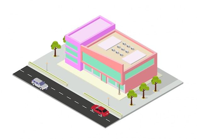 Izometryczne centrum handlowe lub budynek supermarketu