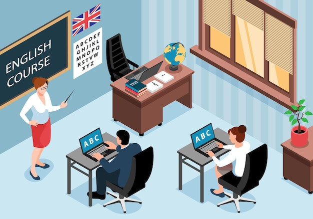 Izometryczne centrum szkoleniowe języka angielskiego pozioma ilustracja