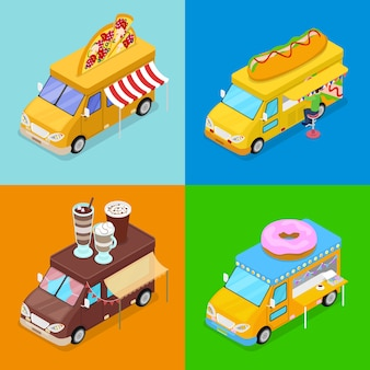 Izometryczne ciężarówki street food z pizzą