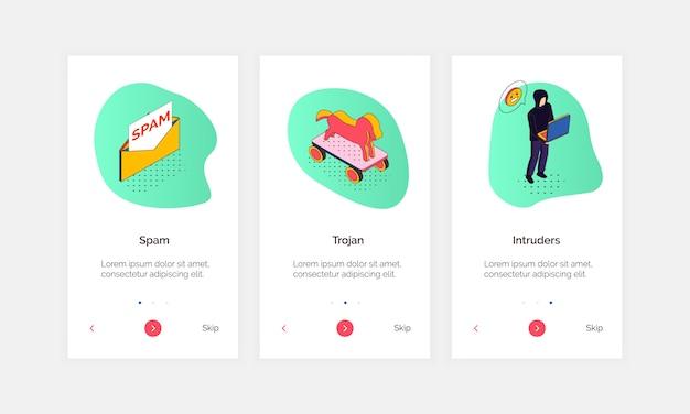 Izometryczne cyberbezpieczeństwa pionowe banery z edytowalnym tekstem klikalne przyciski i doodle koncepcyjne piktogram ikony stylu