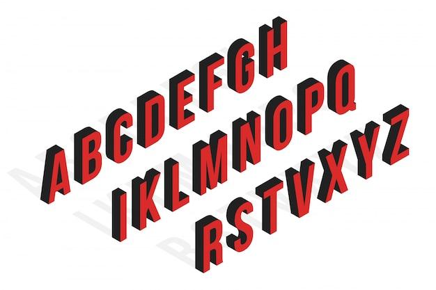 Izometryczne czcionki glitch, alfabet, krój pisma.