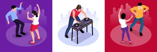 Izometryczne dj i tańczący ludzie zestaw ilustracji
