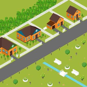 Izometryczne domy na ulicy przedmieścia. prywatne domki w spokojnej okolicy, widok z góry. przytulne domy w stylu gry i zielone trawniki, izometryczne budynki