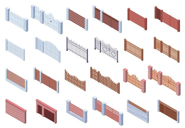 Izometryczne drewniane ogrodzenia metalowe architektury bramy. nieruchomości, kraty na dziedzińcu, cegły i drewniane ogrodzenia bramy wektor zestaw ilustracji. ogrodzenia bram automatycznych