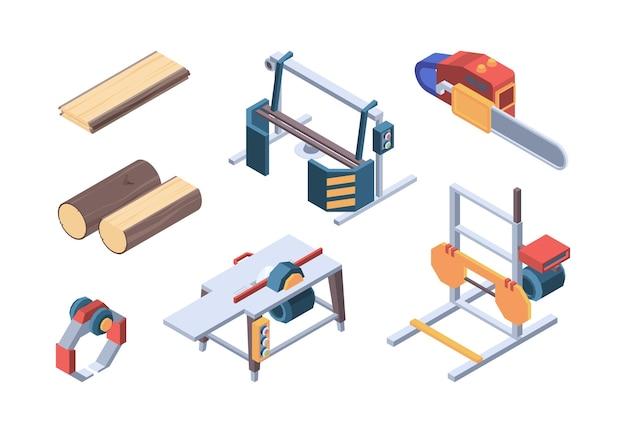Izometryczne drewno. elementy tartaku i pracowników drewna robotnik wektor izometryczny kolekcja. ilustracja usługi pozyskiwania drewna i drewna liściastego, zapas materiałów