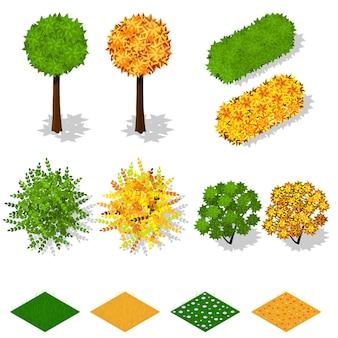 Izometryczne drzewa, krzewy, trawa, kwiaty. letnie zielone liście. żółte jesienne liście. ekologia i architektura krajobrazu. natura i ekologia planety. ilustracja wektorowa