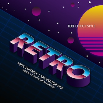 Izometryczne efekty tekstowe retro lata 80