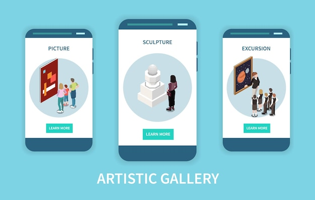 Izometryczne ekrany aplikacji mobilnej galerii artystycznej