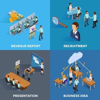 Izometryczne elementy biznesowe i znaki ustaw