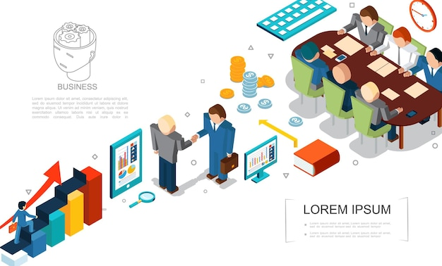 Izometryczne elementy biznesowe zestaw z monetami lupy wykresów książka tablet komputer ludzie biznesu umowa i spotkanie ilustracja