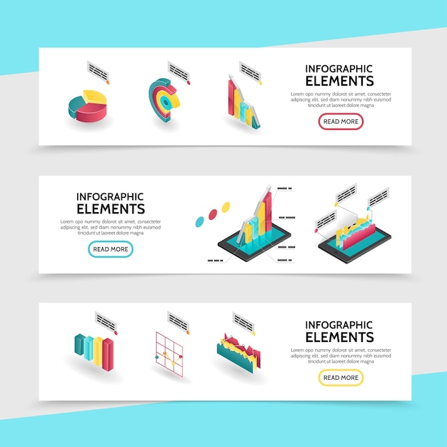 Izometryczne elementy infografiki poziome bannery z wykresami, wykresami i diagramami dla raportów biznesowych