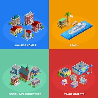 Izometryczne elementy miasta i postacie
