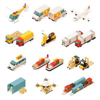 Izometryczne elementy transportu zestaw z samochodami helikopter ciężarówki samolot skuter statki wózki widłowe kontener dron pociąg na białym tle