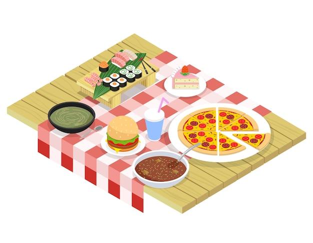 Izometryczne elementy żywności na stole. deser słodki, napoje i przekąska, hamburger i śniadanie