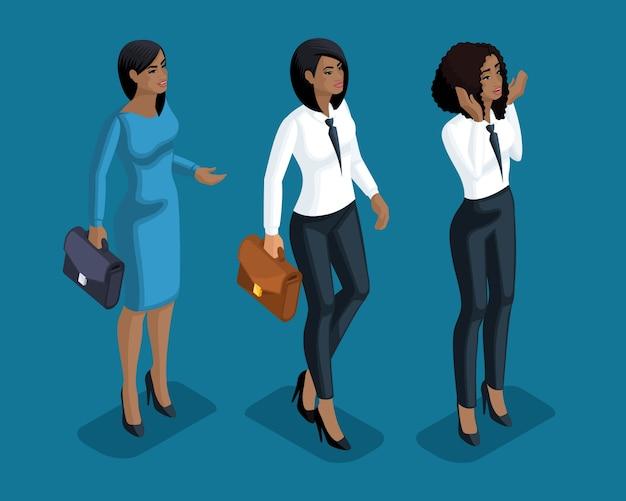 Izometryczne emocje dziewczyny, gesty dłoni dama biznesu, prawnicy, pracownicy banków, wyraz twarzy, emocje oka, usta, gniew, radość, niespodzianka. izometria jakościowa