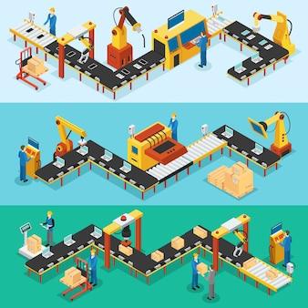 Izometryczne fabryki przemysłowe banery poziome