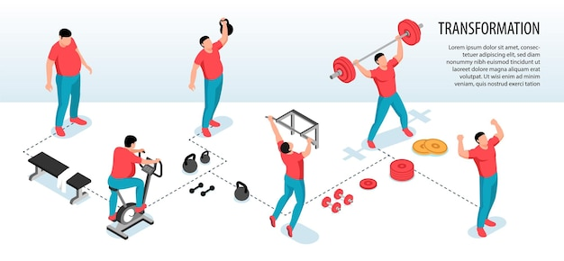 Izometryczne fitness sportowe poziome infografiki z ludzkimi postaciami grubych ludzi, którzy tracą wagę podczas ilustracji ćwiczeń sportowych