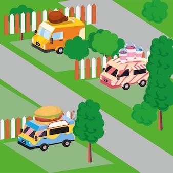 Izometryczne food trucki ustawione na zewnątrz