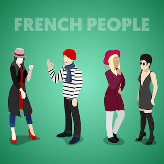 Izometryczne francuzi w tradycyjnych strojach. płaskie ilustracji wektorowych