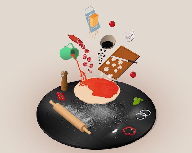 Izometryczne gotowanie koncepcja pizzy z latającymi składnikami