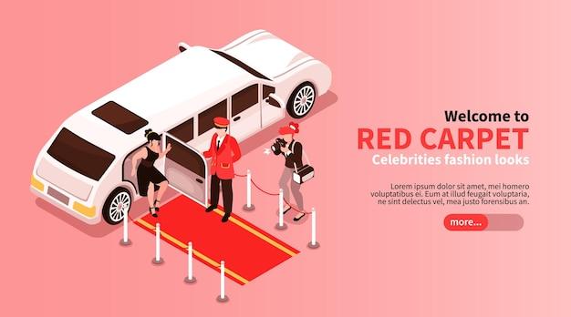 Izometryczne gwiazdy ilustracja limuzyna samochód z ludźmi i szablonem banera internetowego
