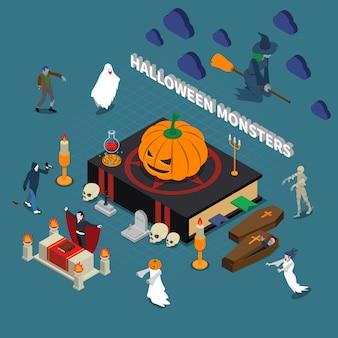 Izometryczne halloweenowe potwory ilustracja