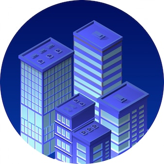 Izometryczne ikona miasta