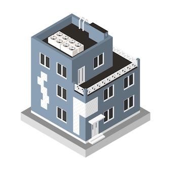 Izometryczne ikona nowoczesny dom. mieszkanie miejskie budynek z oknami i klimatyzacją.