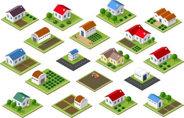 Izometryczne ikona obszarów wiejskich