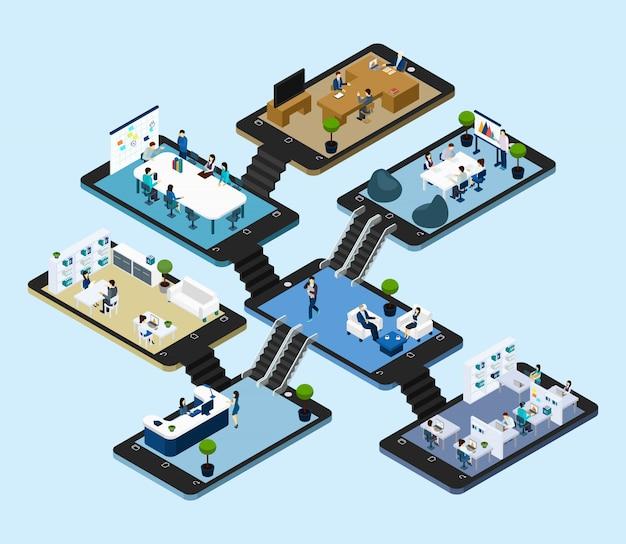 Izometryczne ikona online office