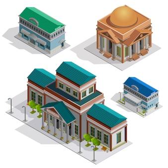 Izometryczne ikony banku i muzeum budynków
