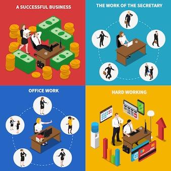 Izometryczne ikony biuro biznes kwadrat