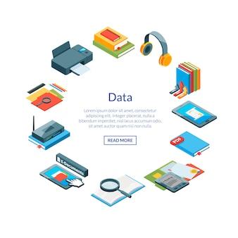 Izometryczne ikony edukacji online w kształcie koła