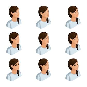Izometryczne ikony emocji kobiety biznesu, głowy włosów, twarzy, oczu, ust, nosa. wyraz twarzy. jakościowa izometria ludzi dla