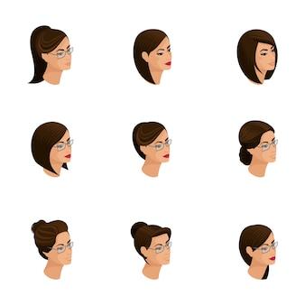 Izometryczne ikony fryzur głowy, twarzy, oczu, ust, kobiecych emocji. izometria ludzi dla ilustracji