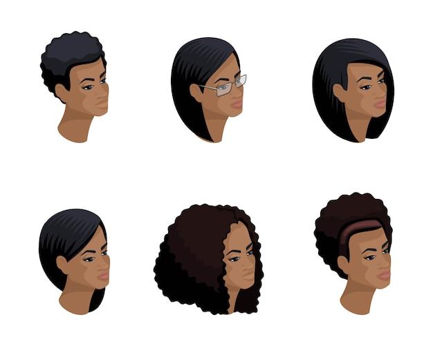 Izometryczne ikony głowy fryzury afroamerykańskiej, twarze, oczy, usta, kobiece emocje. jakościowa izometria ludzi do ilustracji