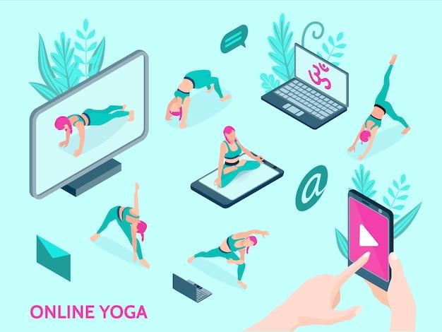 Izometryczne ikony jogi online z ludźmi wykonującymi ćwiczenia przy użyciu wideo w smartfonie i komputerze na białym tle