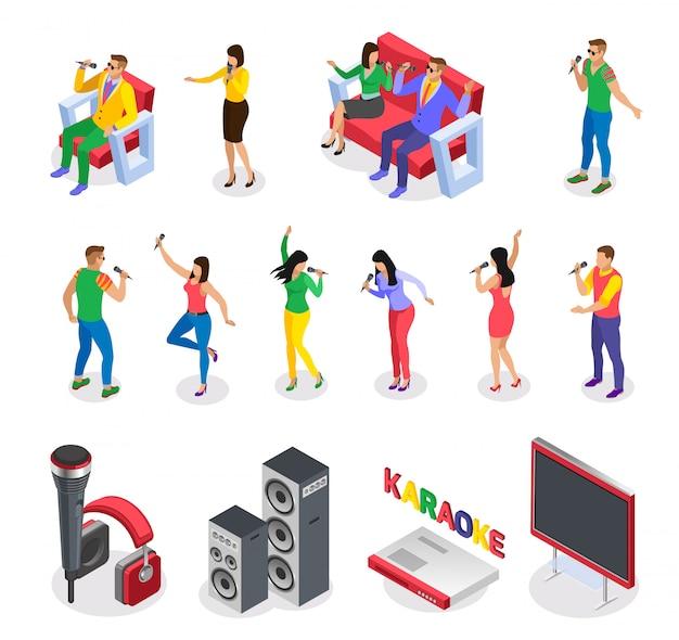 Izometryczne ikony karaoke zbiór izolowanych obrazów z ludźmi imprezowymi postaci meble głośniki i tekst