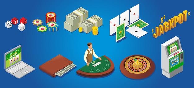 Izometryczne ikony kasyna zestaw z żetonami do gry w pokera pieniądze karty do gry jackpot portfel hazardowy online krupier ruletka automat na białym tle