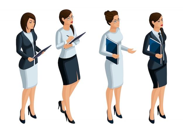 Izometryczne ikony kobiecych emocji, bizneswoman, dyrektor generalny, adwokat. wyraz twarzy, makijaż. jakościowa izometria ludzi do ilustracji
