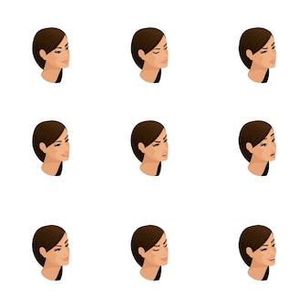 Izometryczne ikony kobiecych emocji, włosów na głowie, twarzy, oczu, ust, nosa. wyraz twarzy. jakościowa izometria ludzi do ilustracji
